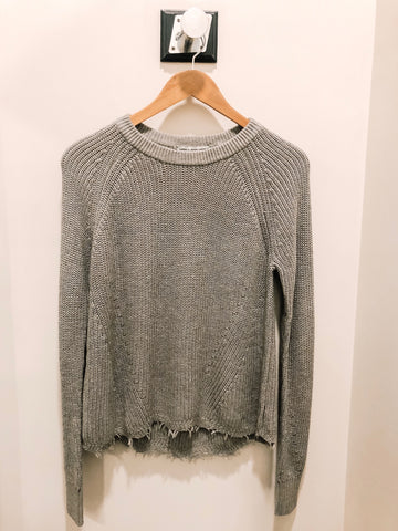 autumn cashmere cotton distressed shaker sweater in sweatshirt