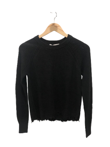 autumn cashmere cotton distressed shaker sweater in  black