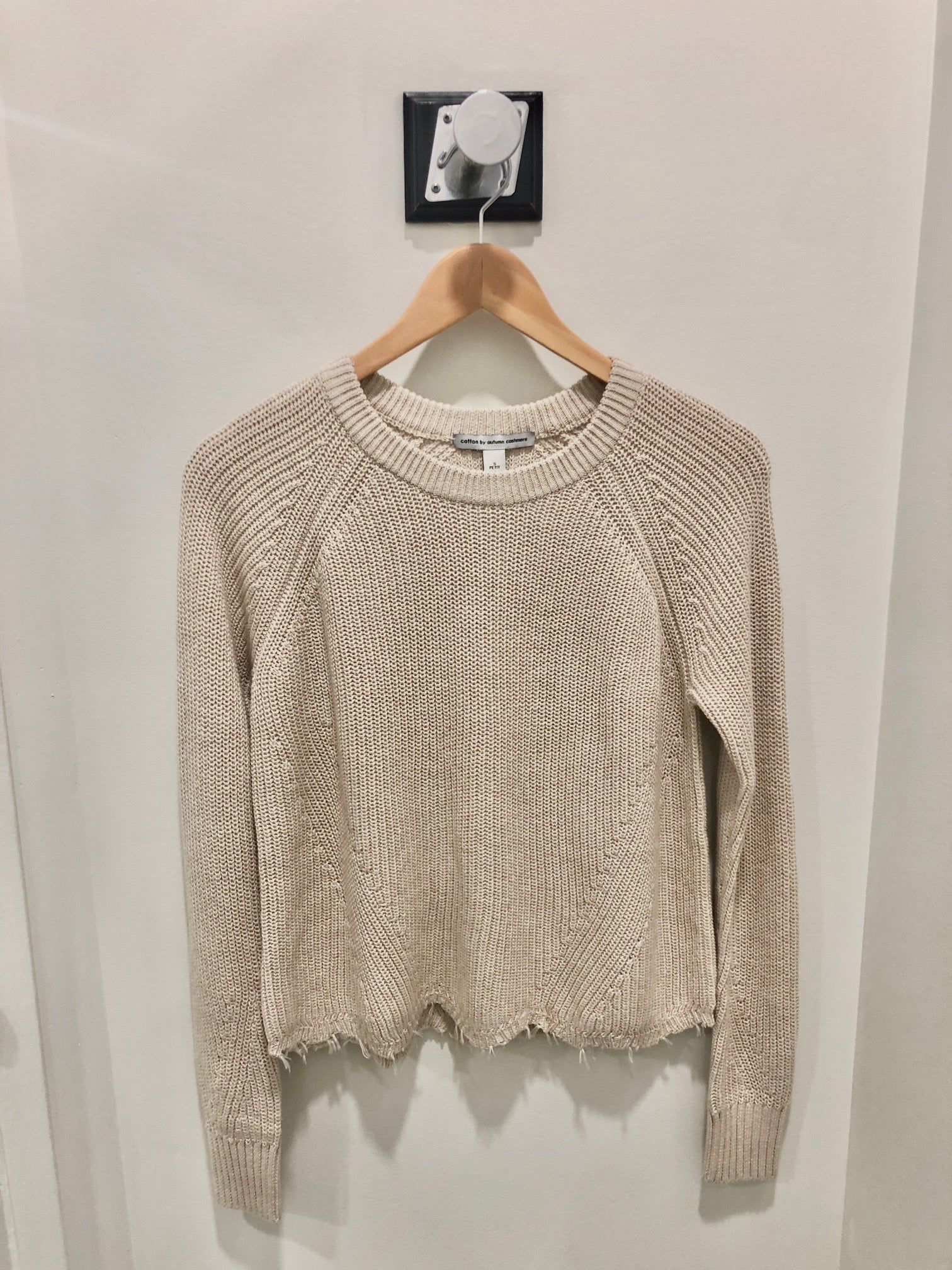 autumn cashmere cotton distressed shaker sweater in natural