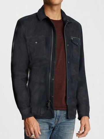 John Varvatos SHILO LIGHT SUEDE SHIRT Leather Jacket  - Black