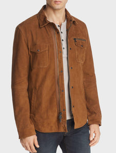 John Varvatos SHILO LIGHT SUEDE SHIRT  Leather Jacket - Antique Brown