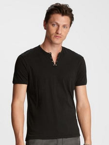 John Varvatos S/S Eyelet Placket Tee - Black