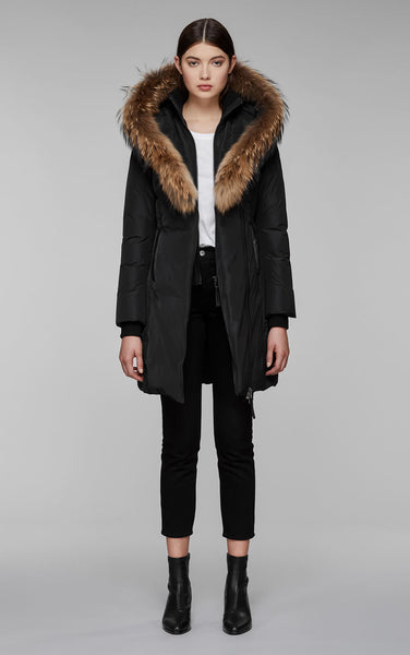 Mackage KayF8 mid length classic down coat with fur collar