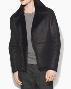 John Varvatos Shearling Asymmetric Zip Jacket