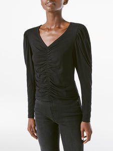 FRAME Agnes Knit Long Sleeve Top in Noir
