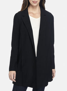 Eileen Fisher Classic Collar Stretch Crepe Long Jacket - Black