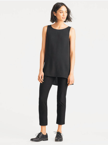 Eileen Fisher System Silk Crepe Neck Long Shell - Black or Bone