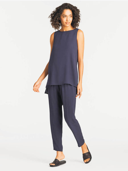 Eileen Fisher System Bateau Neck Long Shell Silk Crepe
