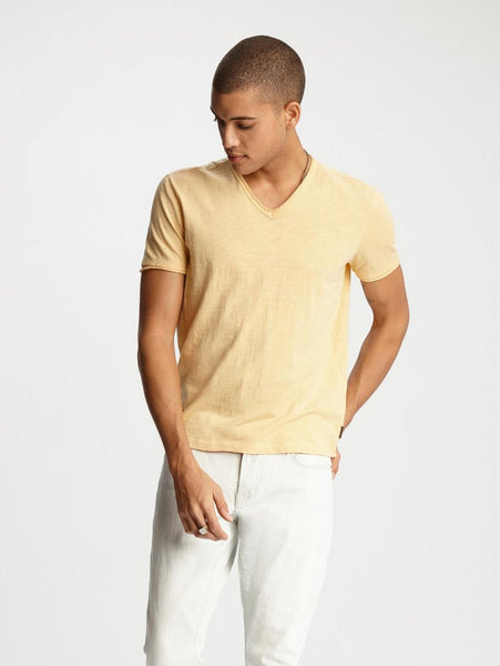 John Varvatos MILES S/S SLUB V-NECK Orange Sherbet