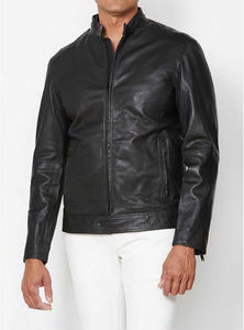 John Varvatos ROYCE RACER Leather Jacket Black