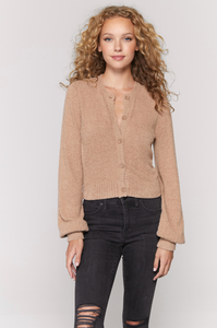 spiritual gangster melody cardigan sweater in camel