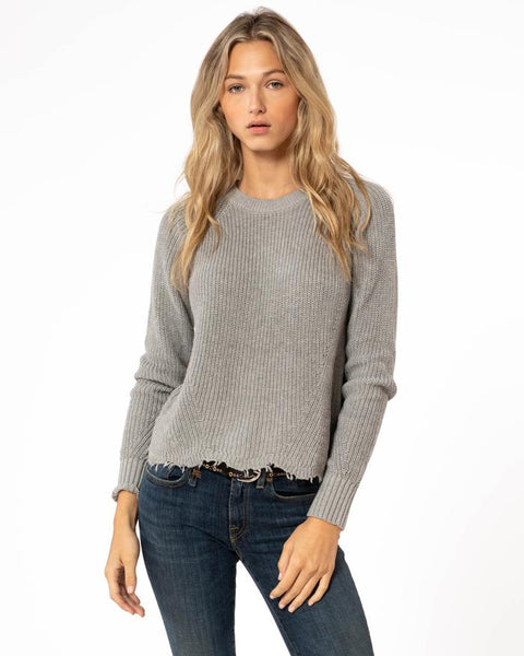 autumn cashmere cotton distressed shaker sweater in hemp