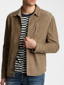 John Varvatos NIK GOAT CRACKLE SUEDE ZIP UP LEATHER SHIRT JKT