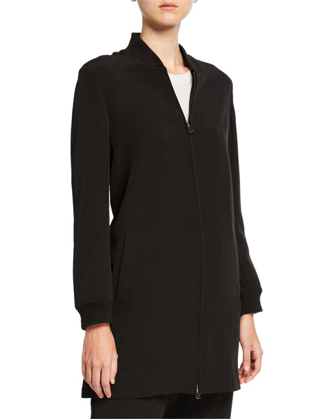 Eileen Fisher Sleek Recycled Polyester Long Flight Jacket