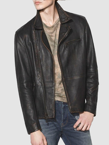 John Varvatos NAILHEAD LEATHER BIKER JACKET - Black