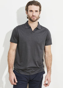 Patrick Assaraf Silk and Cotton Polo - Charcoal