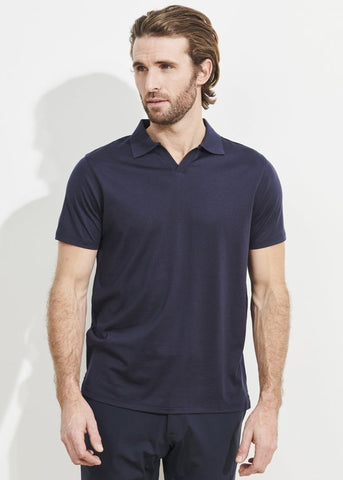 Patrick Assaraf Silk and Cotton Polo - Galaxy Blue