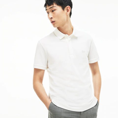 Lacoste Men's Regular Fit Stretch Cotton Paris Polo  - white