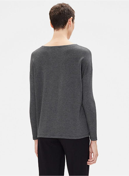 Eileen Fisher Tencel Stretch Terry Pocket Top - Ash