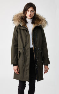 Mackage Rena-R Twill Fur-Lined Parka in Army