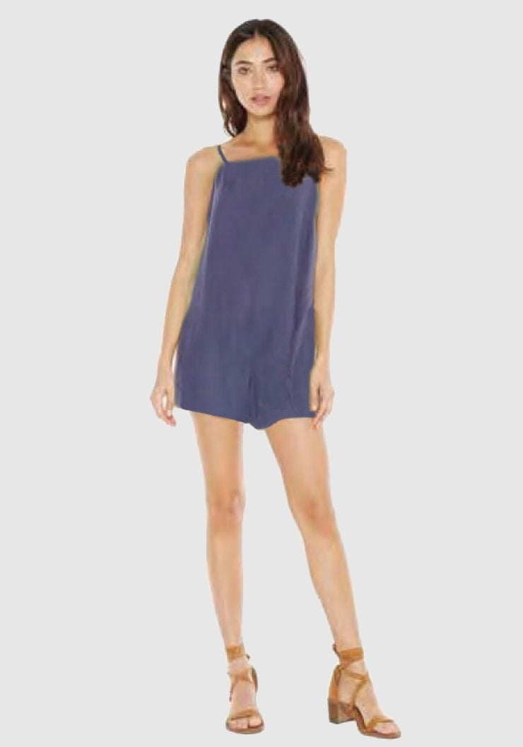 bella dahl  Frayed Smocked Back Romper - Seascape Navy
