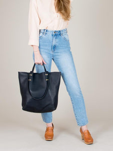 eleven thirty Romy leather tote in black