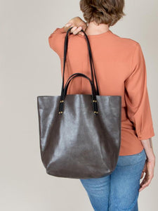 eleven thirty Romy leather tote in steel