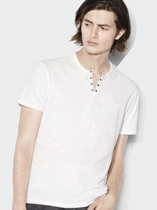 John Varvatos S/S Eyelet Placket Tee - Salt