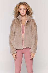spiritual gangster indy faux rabbit zip up jacket in camel