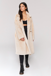 spiritual gangster serena faux fur coat in nutmeg
