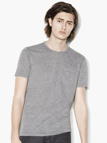 John Varvatos S/S Burnout Crew - Grey Heather