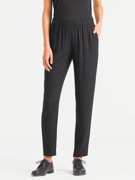 Eileen Fisher System Silk Georgette Slouchy Ankle Pant - Black or Bone