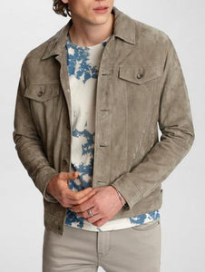 John Varvatos STEVEN SUEDE TRUCKER Leather Jacket Pebble Grey