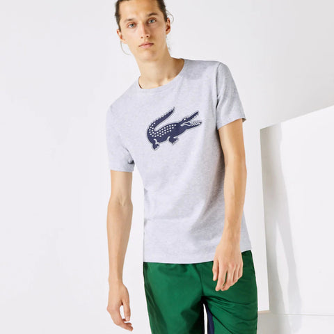 Lacoste SPORT 3D Print Crocodile Breathable Jersey T-shirt - Grey