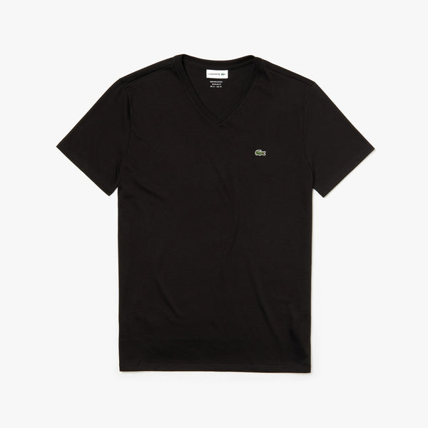 Lacoste Men's V-neck Pima Cotton T-shirt - Black