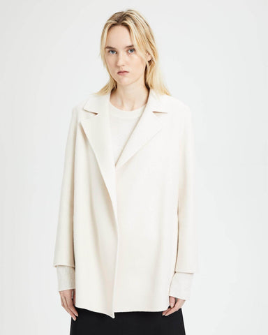 Theory Clairene Wool Cashmere Open Front JacketF8 Buttercream