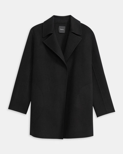 Theory Overlay Wool Cashmere Open Front Jacket9F Black