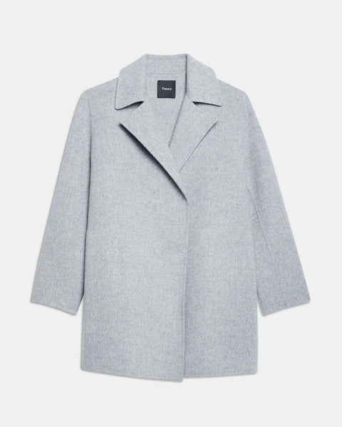 Theory Overlay Wool Cashmere Open Front Jacket9F Blue Grey Melange
