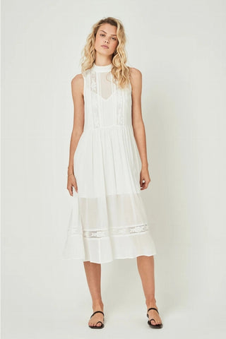 Auguste Wren High Neck Midi Dress in White