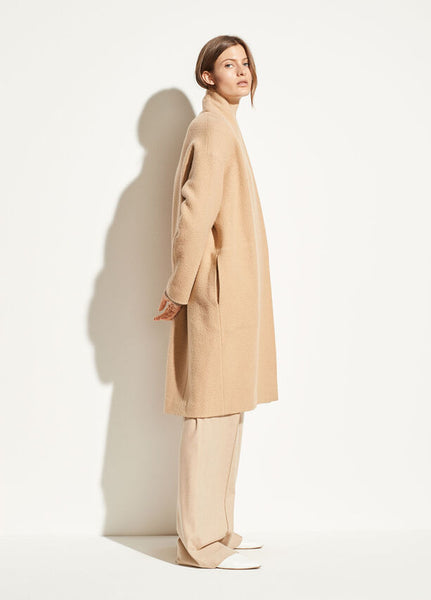 VINCE. Collarless Long Coat in Limestone
