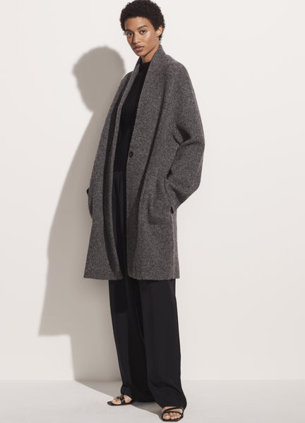 VINCE. Boucle Cardigan Coat in Heather Grey