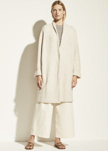 VINCE. Boucle Cardigan Coat in Heather Taupe