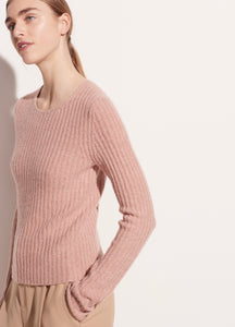 VINCE. Fitted Ribbed Wool Cashmere Crew in Heather Petal