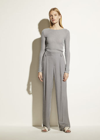 VINCE. wide leg drapy pull on pant in steel blue