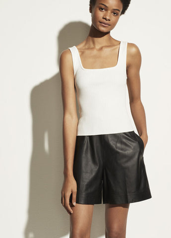 VINCE. ribbed square neck tank in off-white