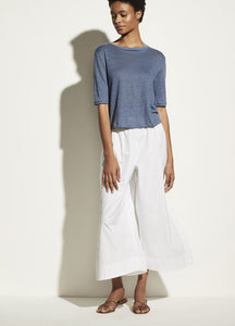 VINCE. linen relaxed elbow sleeve crew in azurine blue