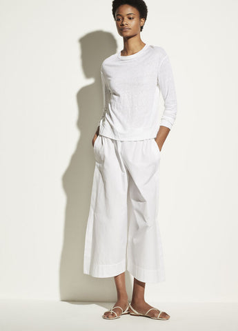 VINCE. linen long sleeve pullover in optic white