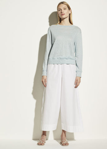 VINCE. linen long sleeve pullover in new skylight