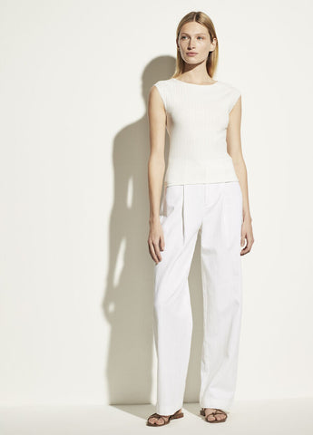 VINCE. ribbed cap sleeve boatneck in optic white
