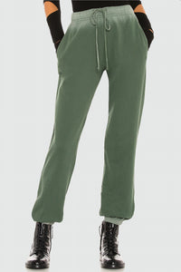 Velvet Viola Ombre Fleece Banded Pant in Willow